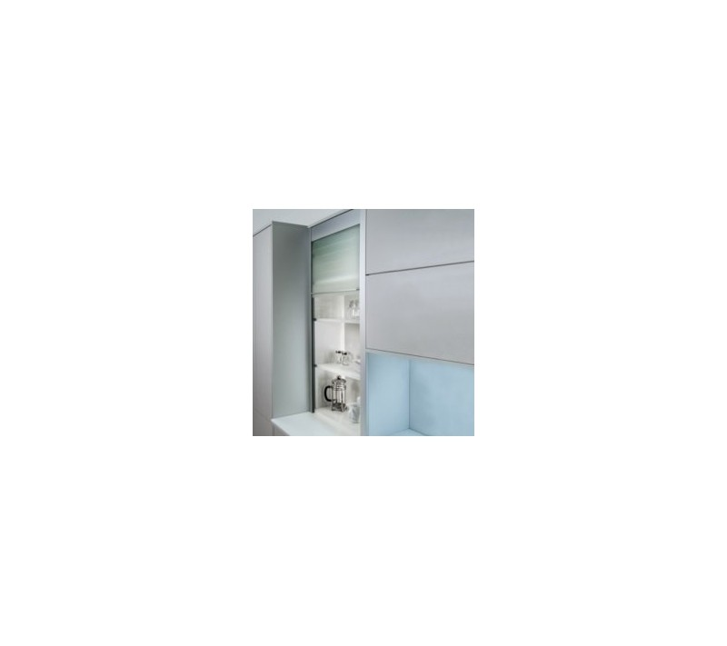 QUASAR REFLEX 600MM GLASS TAMBOUR DOOR 1400MM HIGH FROSTED FINISH