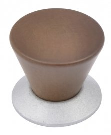 Dark stained wooden knob with nickel base