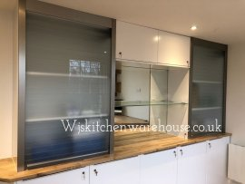 QUASAR REFLEX 900MM GLASS TAMBOUR DOOR 1400MM HIGH FROSTED FINISH