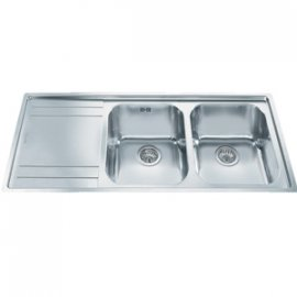 Smeg Rigae LE116S Double Bowl LH Drainer Kitchen Sink in Stainless Steel